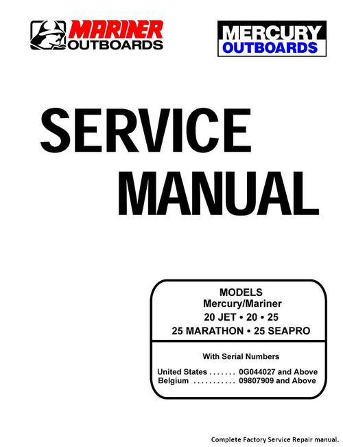 Product picture Mercury Service Manual 20 Jet  20 25 Marathon Seapro 25