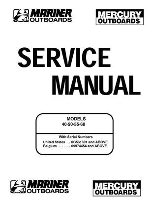 Product picture Mercury Mariner 40 50 55 60HP Service Manual 2 Stroke