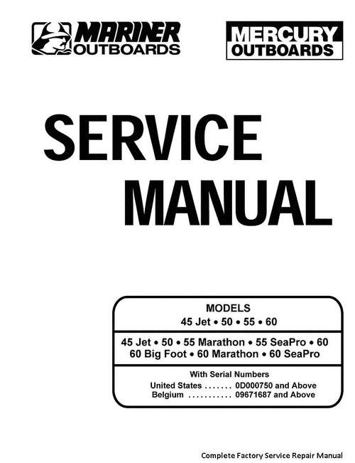 Product picture Mercury Mariner 45 Jet 50 55 60 Service Manual 2 Stroke