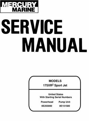 Product picture Mercury/Mariner 175XR2 Sport Jet Service Manual
